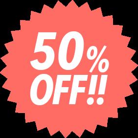 50%OFF!!