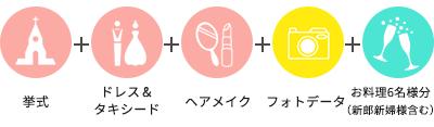 挙式+ドレス&タキシード+ヘアメイク+フォトデータ+新郎新婦2名様分お料理